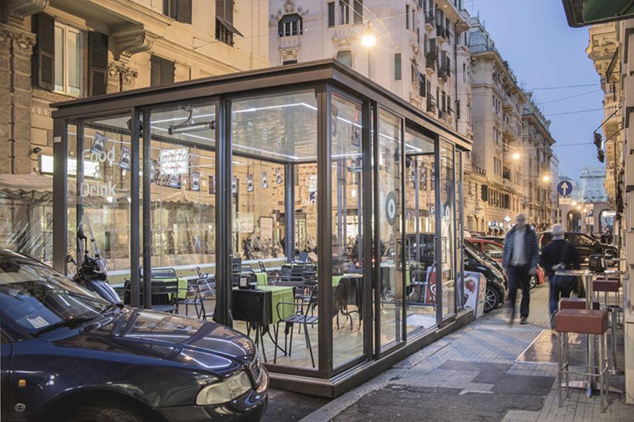 veranda in acciaio e vetro